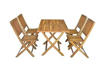 SSITG Salon de jardin en 5 pièces Set de balcon Table de jardin ...