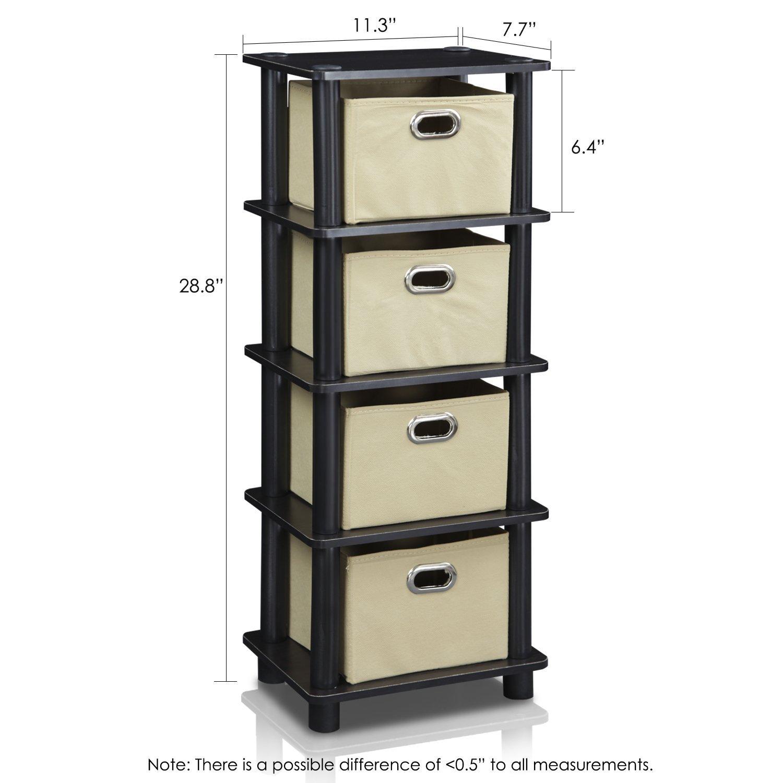 Furinno LACi 4-Bins System Rack, 11.3(W) x 28.8(H) Inch, Espresso/Black by Furinno (Image #2)