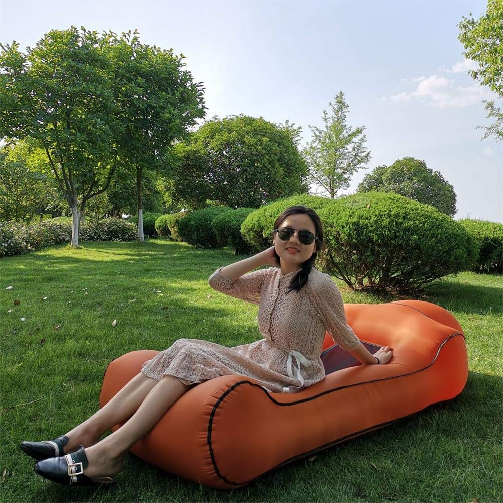 "Gerymu Inflatable Loungers Air Hammock Sofa Portable Inflatable Couches and Sofas Lounger Beach Chair Waterproof Air Couch with Mesh (75×33×18"") (Orange) by Gerymu"