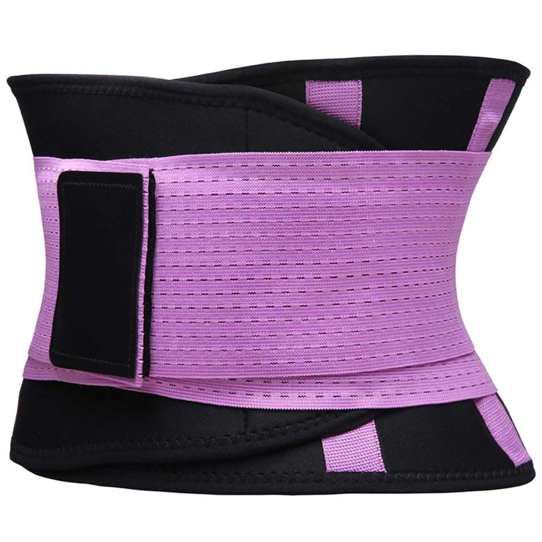 KOOCHY Women's Waist Trainer Belt - Waist Cincher Trimmer - Slimming Body Shaper Belt - Sport Girdle Belt for Weight Loss(Purple,Large) by KOOCHY (Image #5)