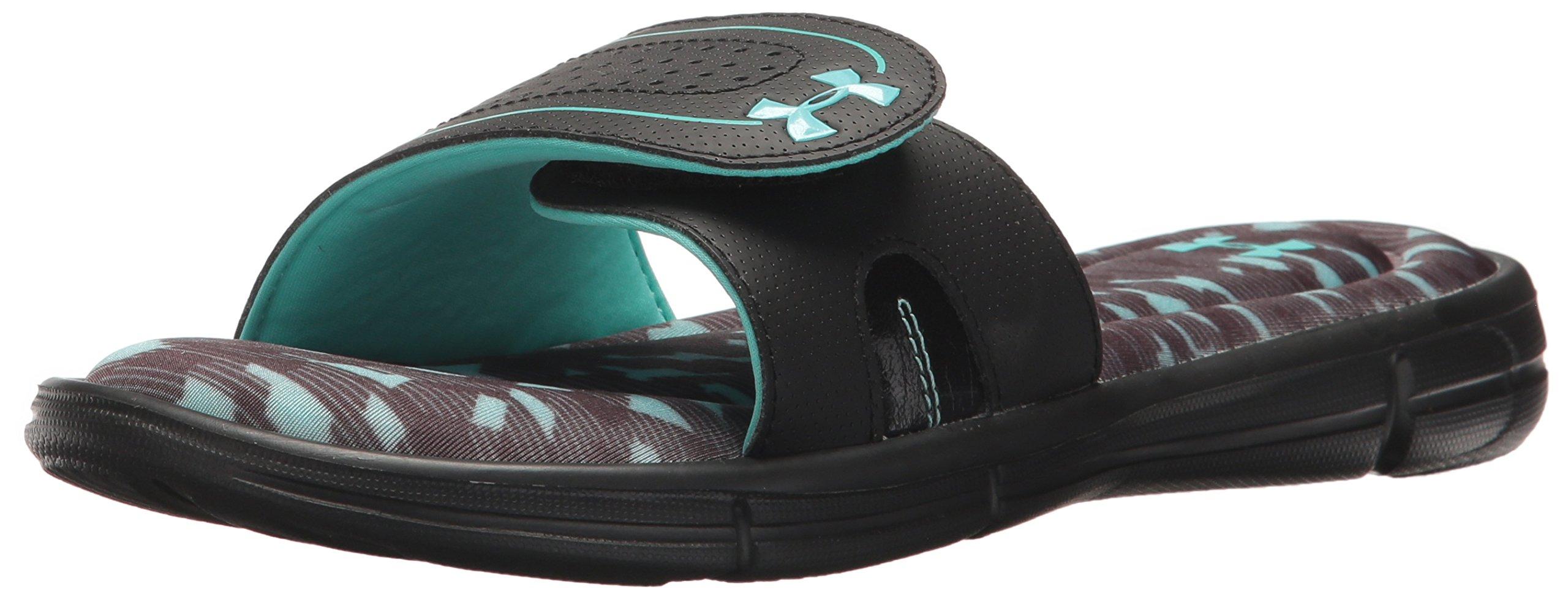 Under Armour Women's Ignite VIII Edge Slide Sandal, Black (001)/Tropical Tide, 6