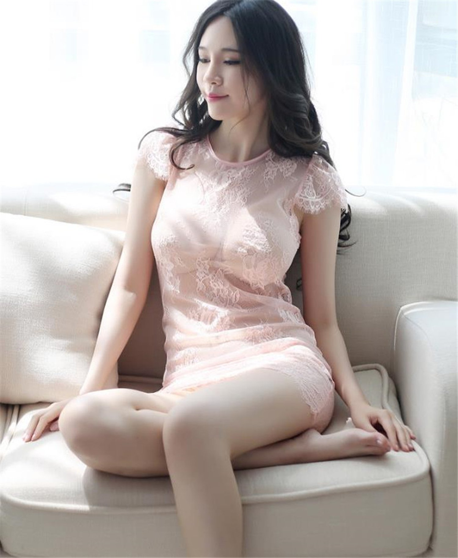 Dancing girl kiss Fashion Lace Hollow Perspective net Yarn Tight Exotic Apparel Dress Sexy Cheongsam Underwear,Pink,One Size
