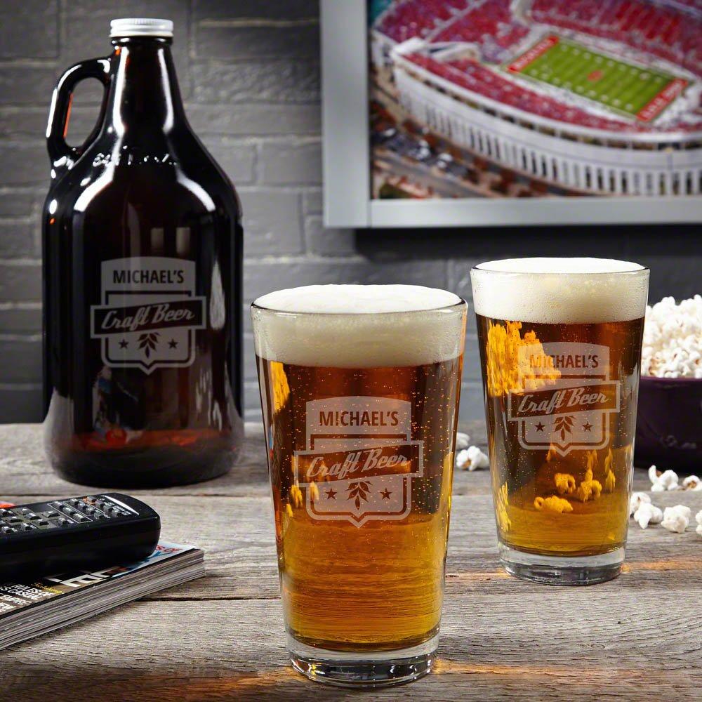 Custom Craft Beer Growler and Pint Glass Gift Set (Customizable Product)