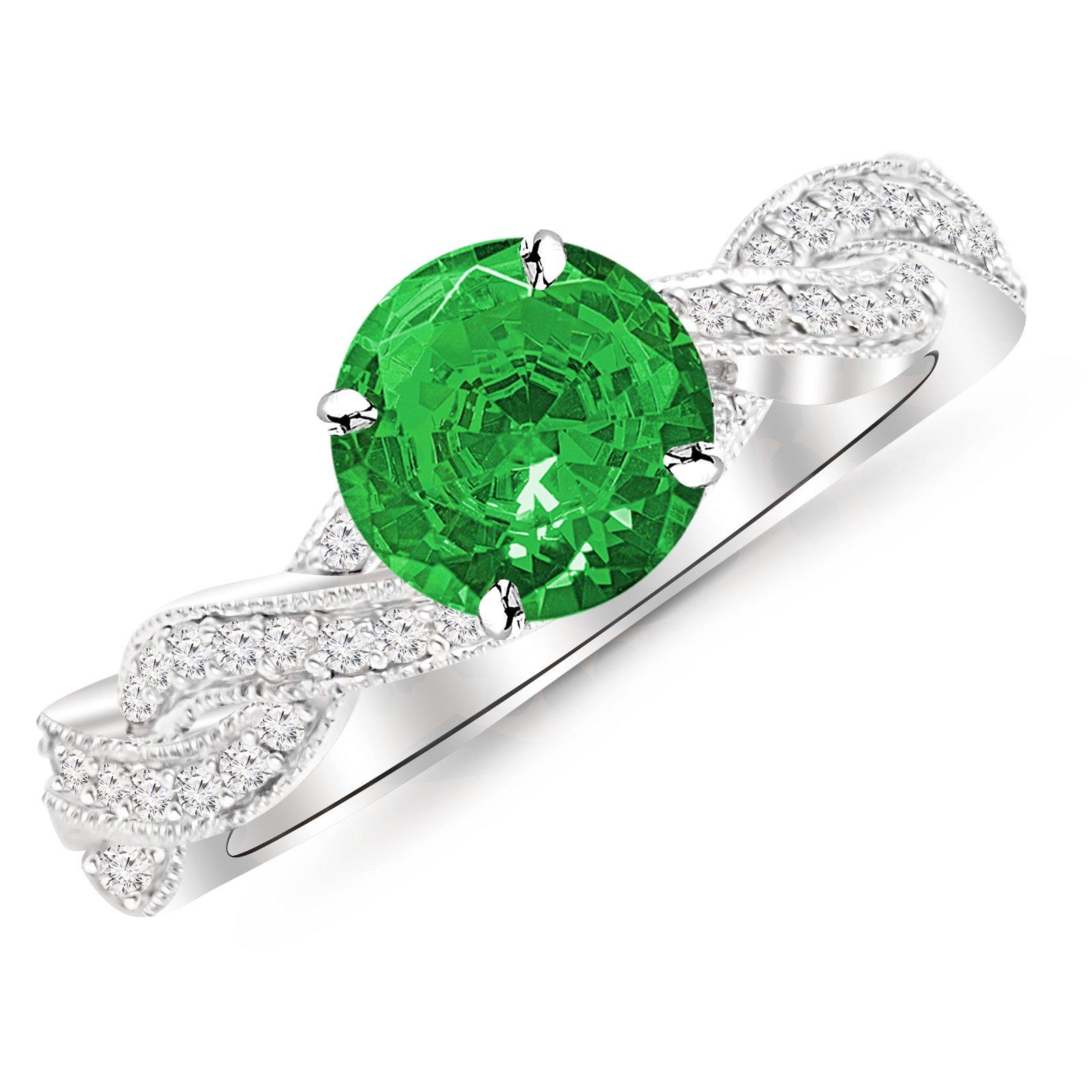 Platinum Vintage Eternity Love Twisting Split Shank Diamond Engagement Ring With Milgrain with a 0.5 Carat Emerald Heirloom Quality Center