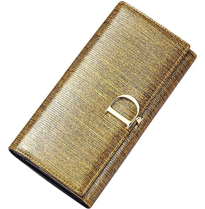 Amazon.com: Monedero para mujer de piel auténtica RFID ...
