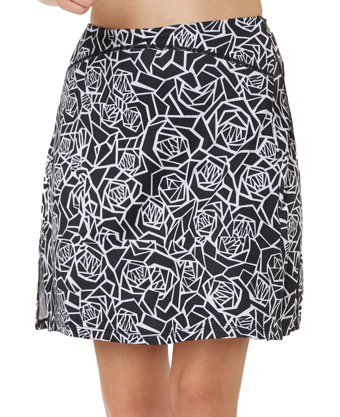 slimour Women Print Golf Skirt Travel Skirts with Pocket Swim Skirt High Waist with Shorts Black Rose XL by slimour