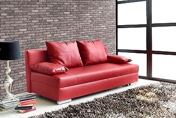 Lifestyle4living Schlafsofa In Rot Aus Kunstleder Sofa Mit Schlaffunktion Und Bettkasten Pflegeleichte Couch Inkl Rucken Und Armlehnkissen