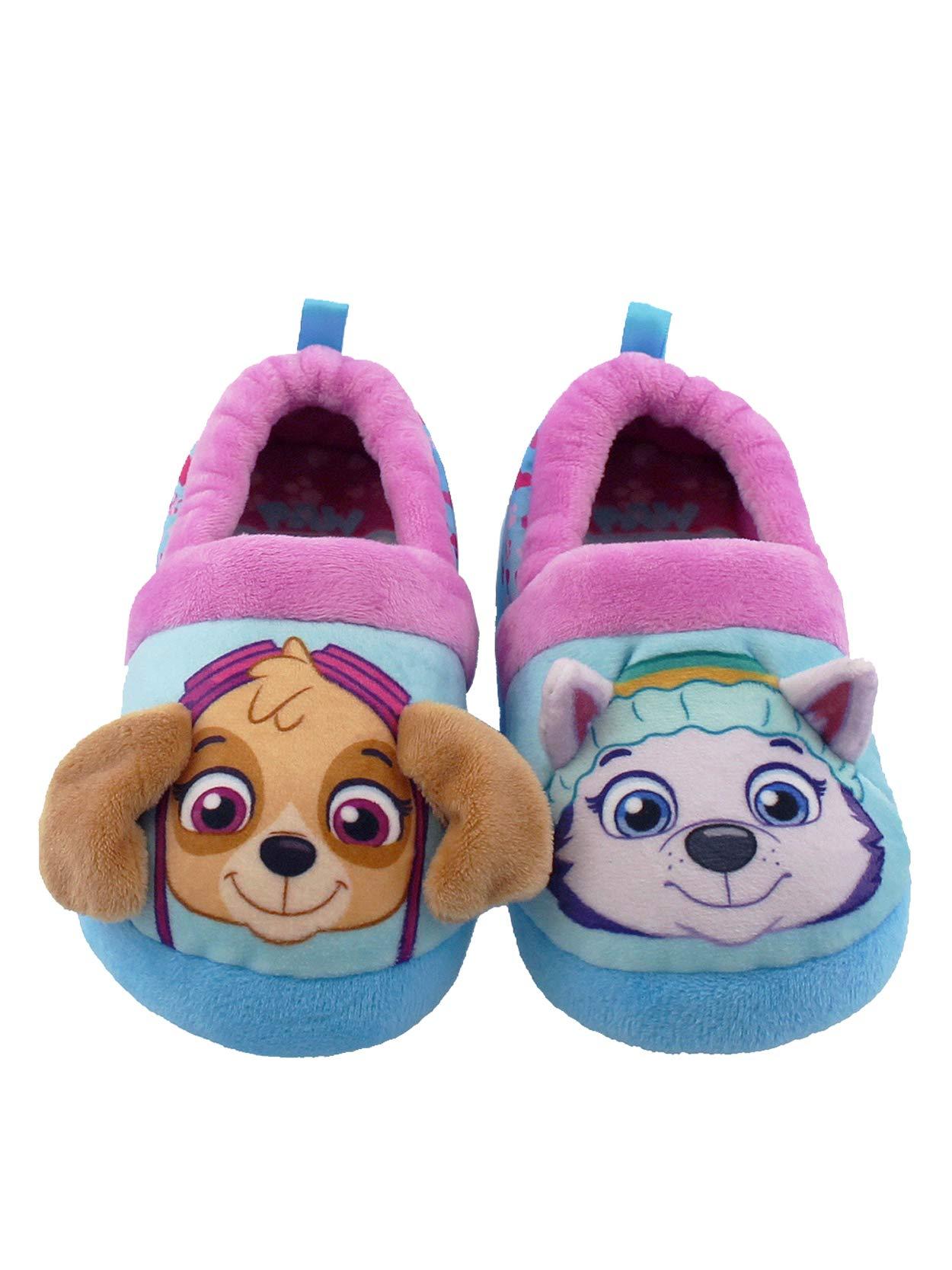 Paw Patrol Skye Everest Toddler Girls Plush Aline Slippers (9-10 M US Toddler, Blue/Purple)