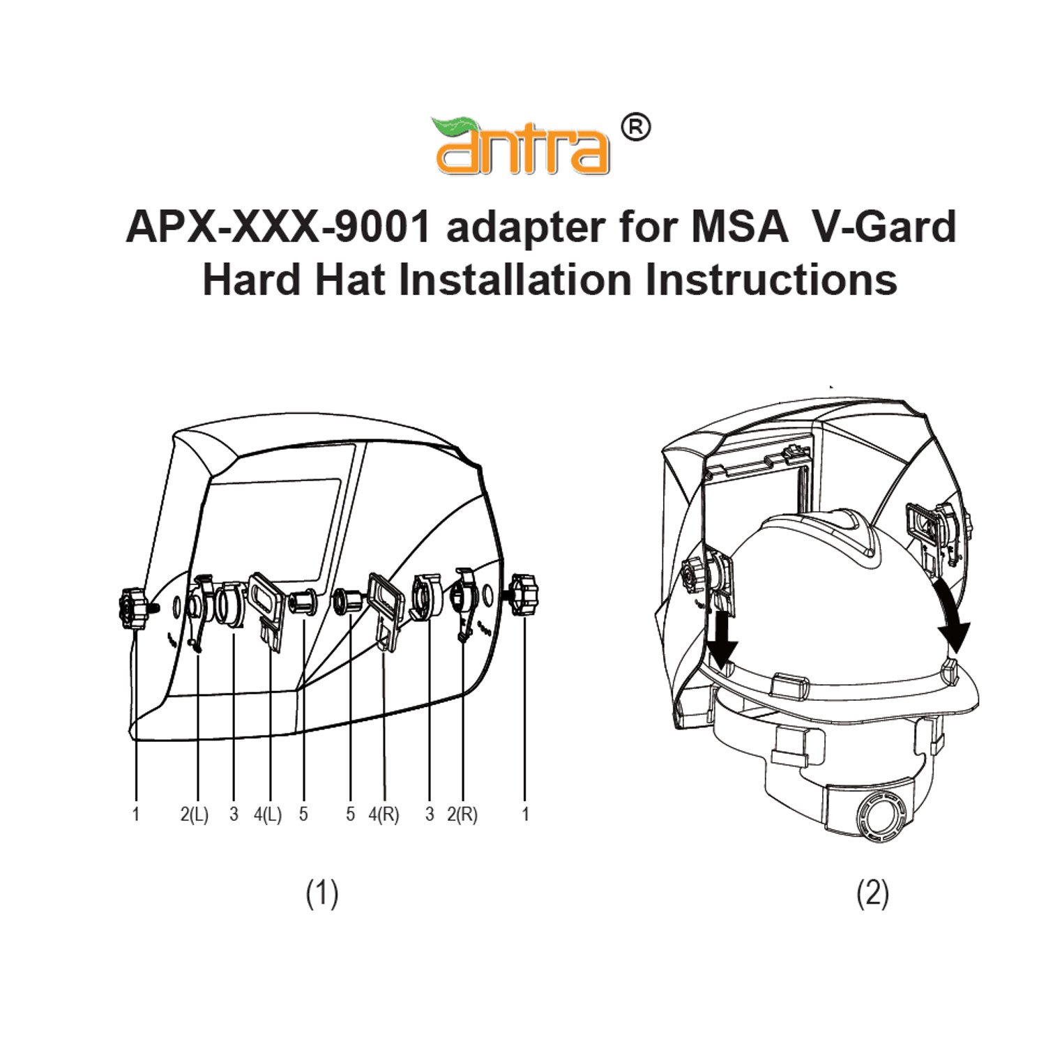 Antra APX-XXX-9001 Hard Hat Adapter Kits for connecting Welding Helmets and MSA V-Guard Cap Style: Amazon.com: Industrial & Scientific