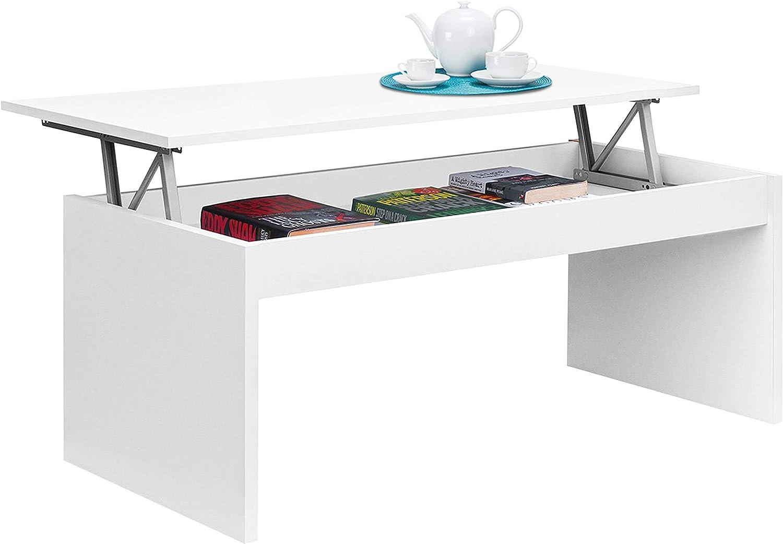 Habitdesign 001638BO - Mesa de Centro elevable, mesita Mueble Salon Comedor, Medidas: 102 cm (Ancho) x 50 cm (Fondo) x 43/52 cm de (Alto) (Blanco Brillo)