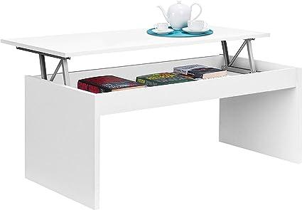 Oferta amazon: Mesa de Centro elevable, mesita Mueble Salon Comedor, Blanco Brillo, Medidas: 102 cm (Ancho) x 43/52 cm de (Alto) x 50 cm (Fondo)
