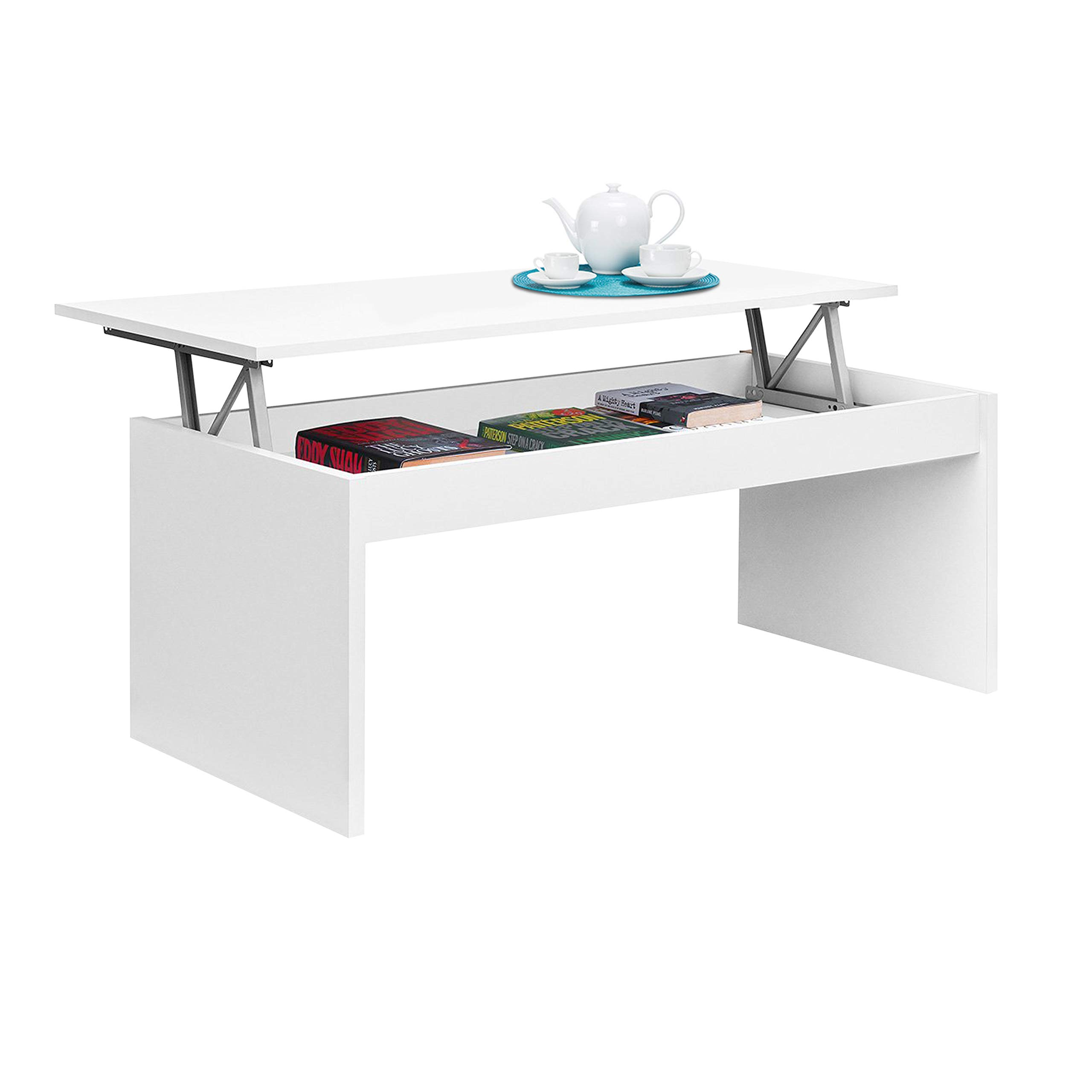 Due-Home White Gloss Coffee Table with Folding Seat