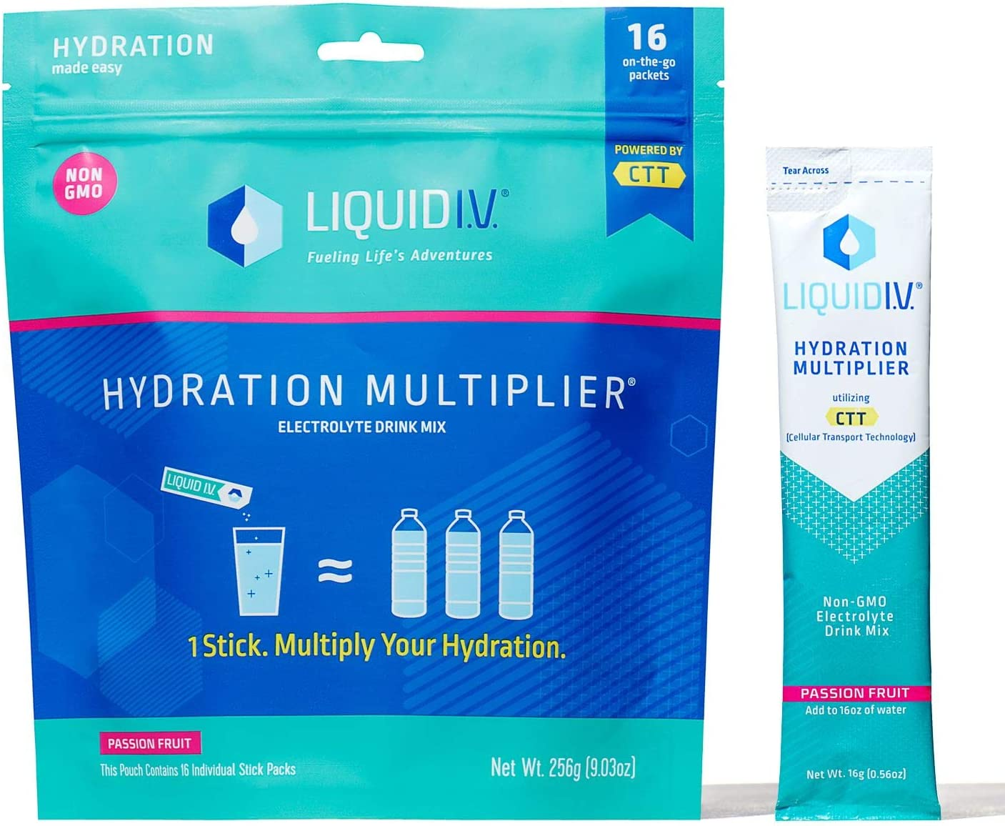 Liquid I.V. Hydration Multiplier, Electrolyte Powder, Easy Open Packets, Supplement Drink Mix (Passion Fruit) (16)