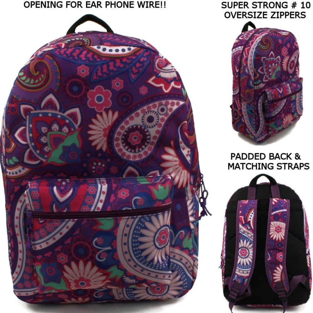 17'' Wholesale Padded Purple Paisley Backpack - Case of 24 by Arctic Star
