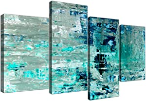 Large Turquoise Teal Abstract Painting Wall Art Print Canvas - Split 4 Set - 4333 Wallfillers