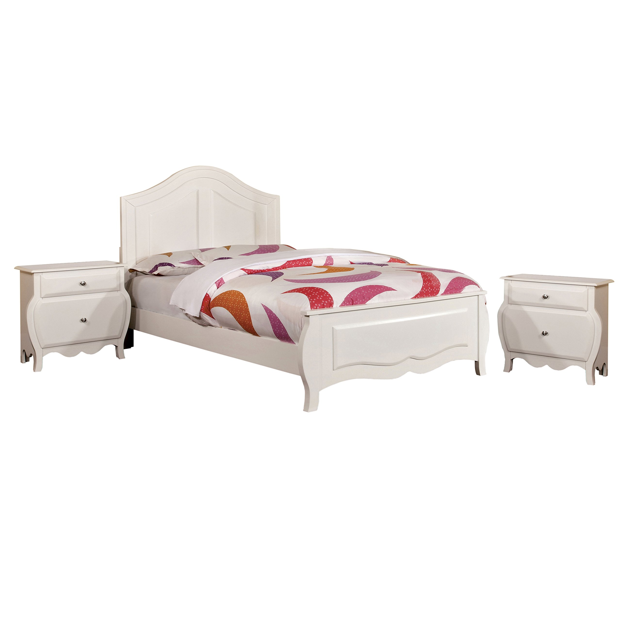 HOMES: Inside + Out 3 Piece ioHOMES Lionel Youth Bedroom Set with Nightstands, Full, White