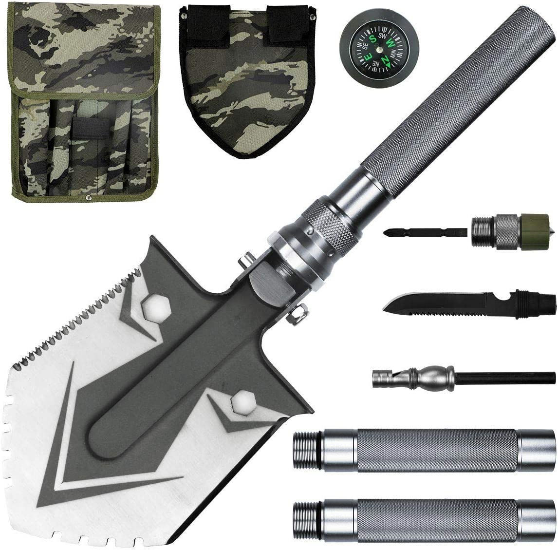 BACOENG Compact Folding Shovel 31 inch Length with MOLLE Pouch – Tactical Multitool Spade Kit for Camping, Hiking, Backpacking, Fishing, Trench Entrenching Tool etc