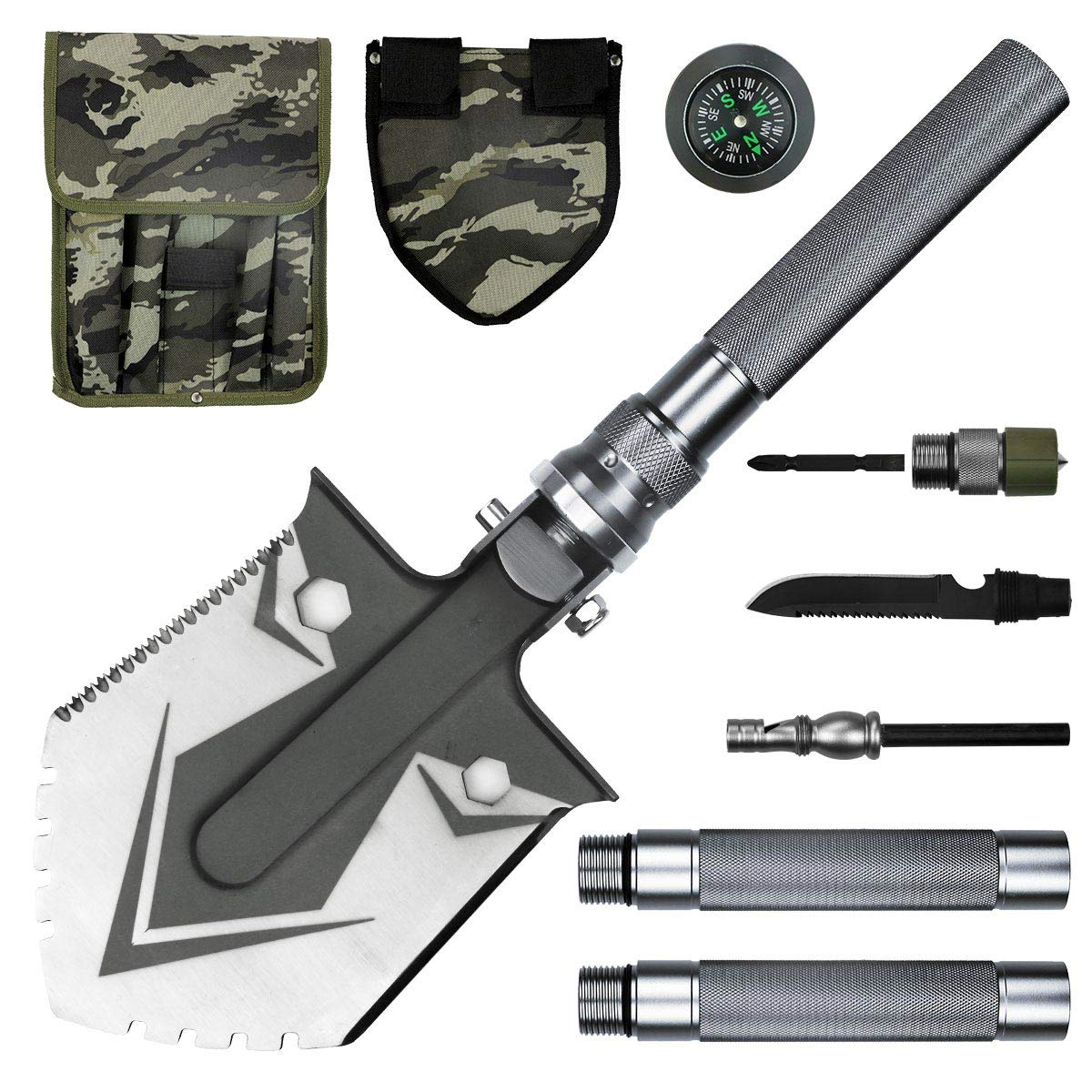 BACOENG Compact Folding Shovel [31 inch Length] with MOLLE Pouch - Tactical Multitool Spade Kit for Camping, Hiking, Backpacking, Fishing, Trench Entrenching Tool etc