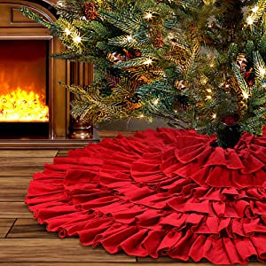 yuboo Red Ruffle Christmas Tree Skirt, 48 inches 6-Layer Rustic Xmas Tree Holiday Decorations