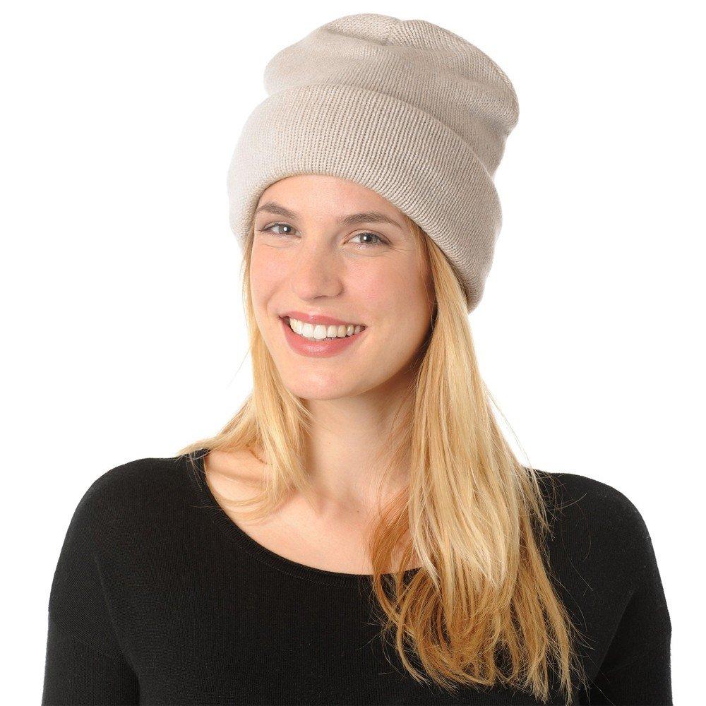 Womens Hat 100% Cashmere 12 Plys Classics - Beige by LES POULETTES (Image #2)