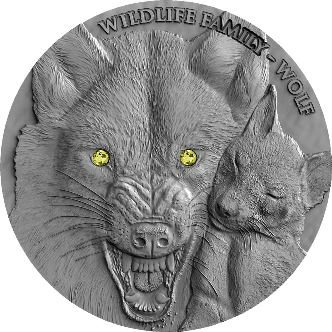 Wildlife Family Wolf , 2017, 1oz Silber 0.999