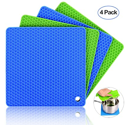 Silicone Pot Holders (Set Of 4), Ankway Silicone Trivets Multi Purpose Hot