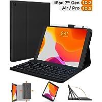 iPad 7th Generation Case with Keyboard and Pencil Holder - iPad 10.2 2019 Gen 7, iPad Air 3, iPad Pro 10.5 - iPad Keyboard Case for 10.2-inch iPad A2197 A2200 - iPad Air 3rd 10.5 Folio Cover (Black)
