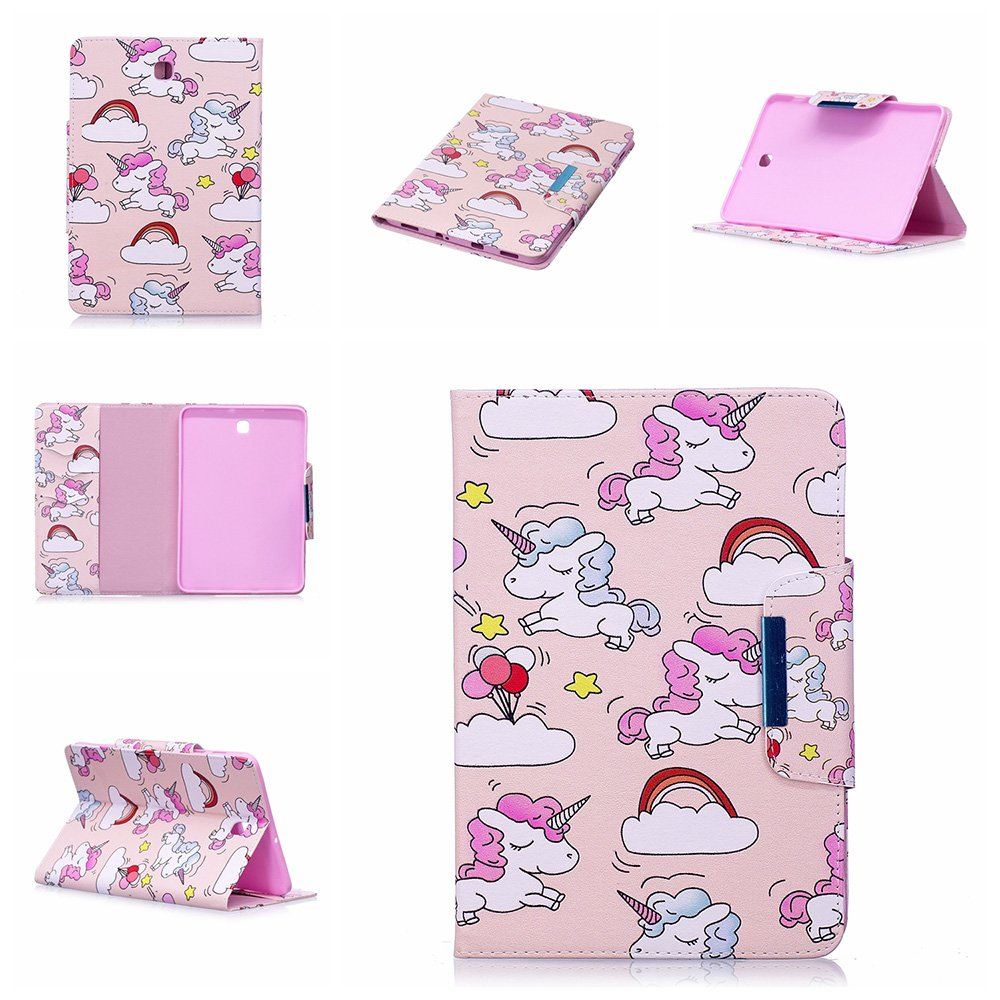 ESSTORE Cases for Galaxy Tab A2 S 8.0' / T380 / T385 - Ultra Slim Lightweight Multi Function Leather Case for Samsung Galaxy Tab A2 S 8.0' / T380 / T385 [Auto Wake/Sleep] [Cute Unicorn-3]
