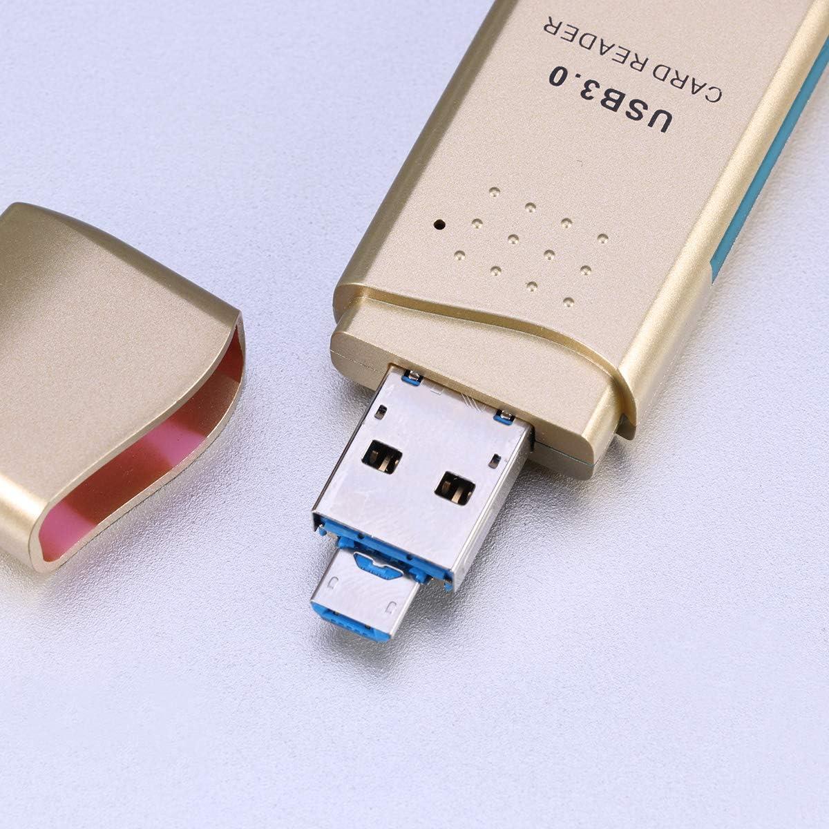 Gold Hemobllo Memory Card Reader 3 in 1 USB C TF SD OTG Card Reader