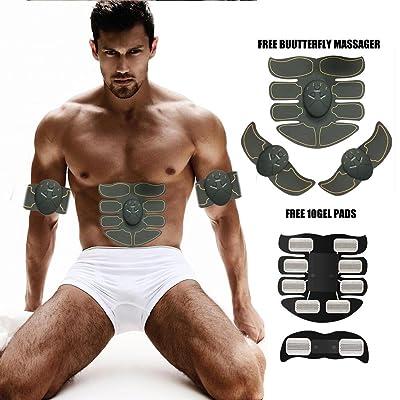 3e89b3c785 Pawaca EMS Appareil Abdominal, Nouvelle Version ABS Electrostimulateur  Smart Ceinture Abdominal Massage Musculaire Unisexe Fitness