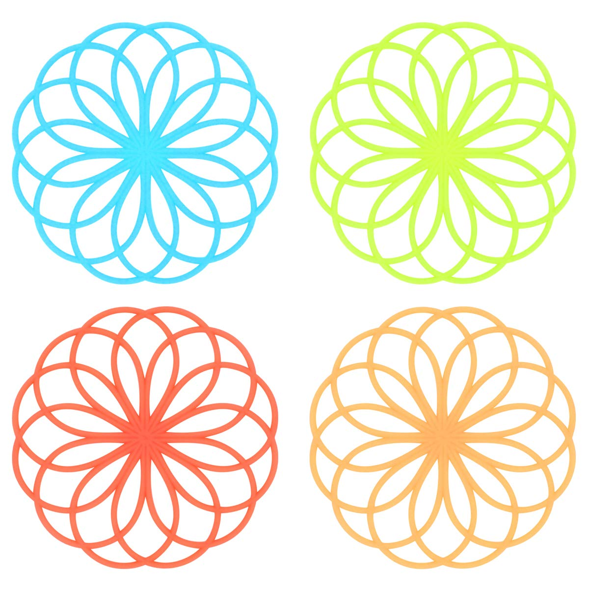 Silicone Multi-Use Hollow Flower Trivet Mat - Insulated Flexible Durable Non Slip Coasters Hot Pads - 7.8 inch - 4 Colors Set.