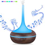 Aroma Diffuser 400ml Essential Oil Diffuser Wood Humidifier Bluetooth Speaker Nebulizer Room Humidifier Music Aroma Lamp Oil Diffuser with 7 Colors LED Humidifier for Home Office, Yoga, Spa
