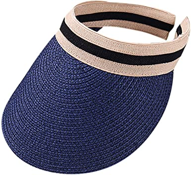 LOPILY Sombrero de Playa Sencillo Sombrero de Paja Color Sólido ...