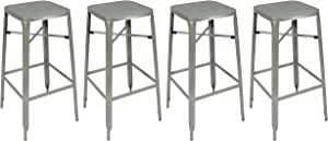 """Pin Dynasty Stackable Industrial Metal Bar Stool 30""""– Silver w/Square Mesh Top (4 Pack)"""
