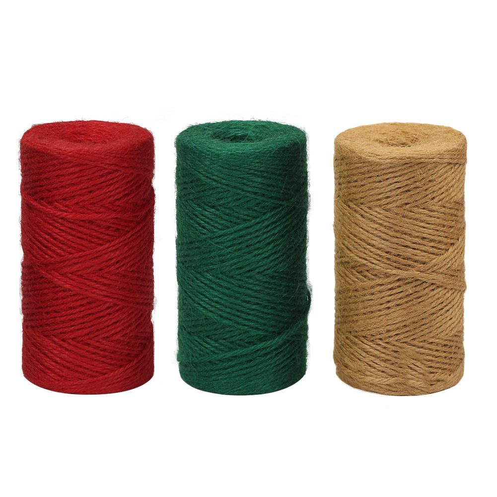 Vivifying 2mm Jute Twine, 328 Feet x 3 Rolls Natural Garden Twine DIY Crafts, Wrapping (Red, Dark Green, Brown)
