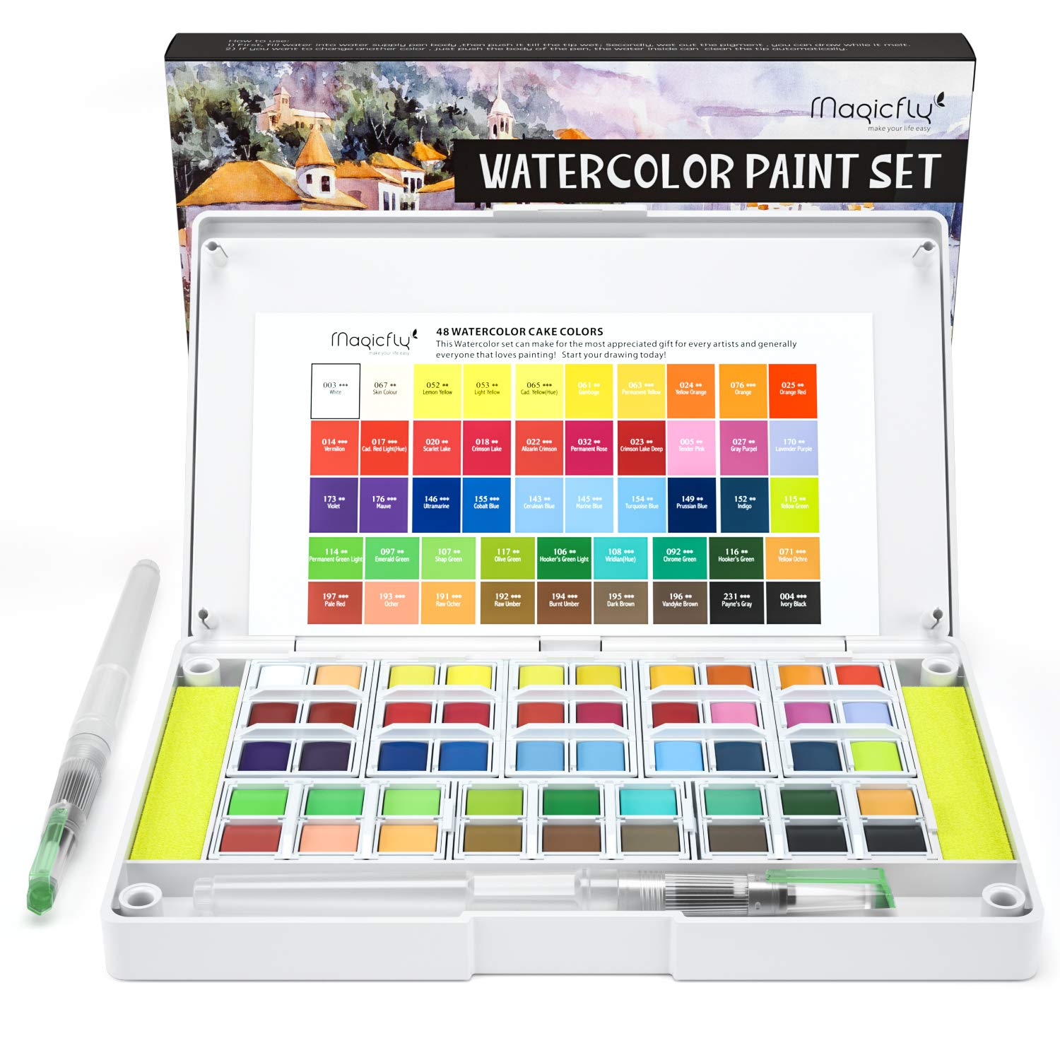 Water Color Set, Magicfly 48 Colors Watercolor Field Sketch Set with 2 Refillable Water Coloring Pens, Detachable Palette Easy to Blend Colors Travel Water Color Pan kit