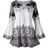 NREALY Womens Fashion Plus Size Printed Flare Sleeve Tops Blouses Keyhole T-Shirts