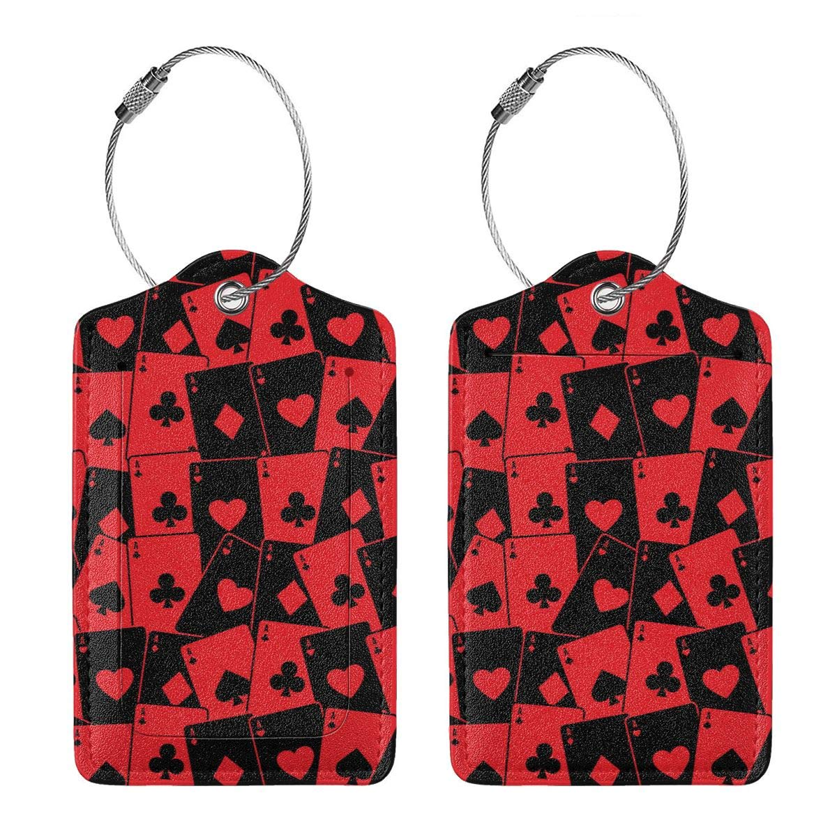 Red Poker Card Leather Luggage Tags Personalized Travel Accessories With Privacy Flap