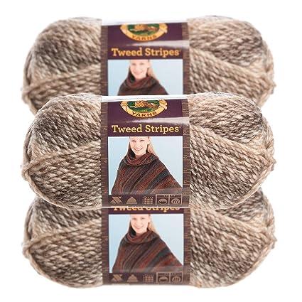 6971167c75d Amazon.com  Lion Brand Yarn (3 Pack) Chunky Yarn Acrylic 100 Percent Soft  Caramel Brown Yarn for Knitting Crocheting Bulky  5