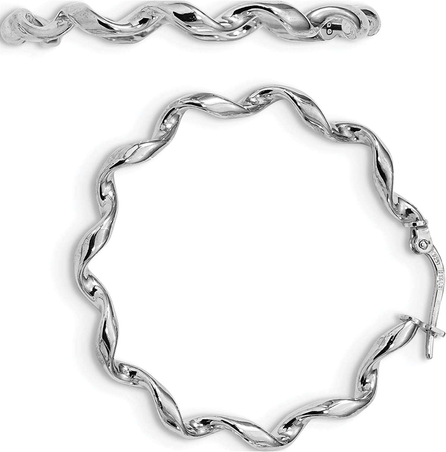 925 Sterling Silver Rhodium-plated Polished /& Antiqued Finish Twisted Hoop Earrings