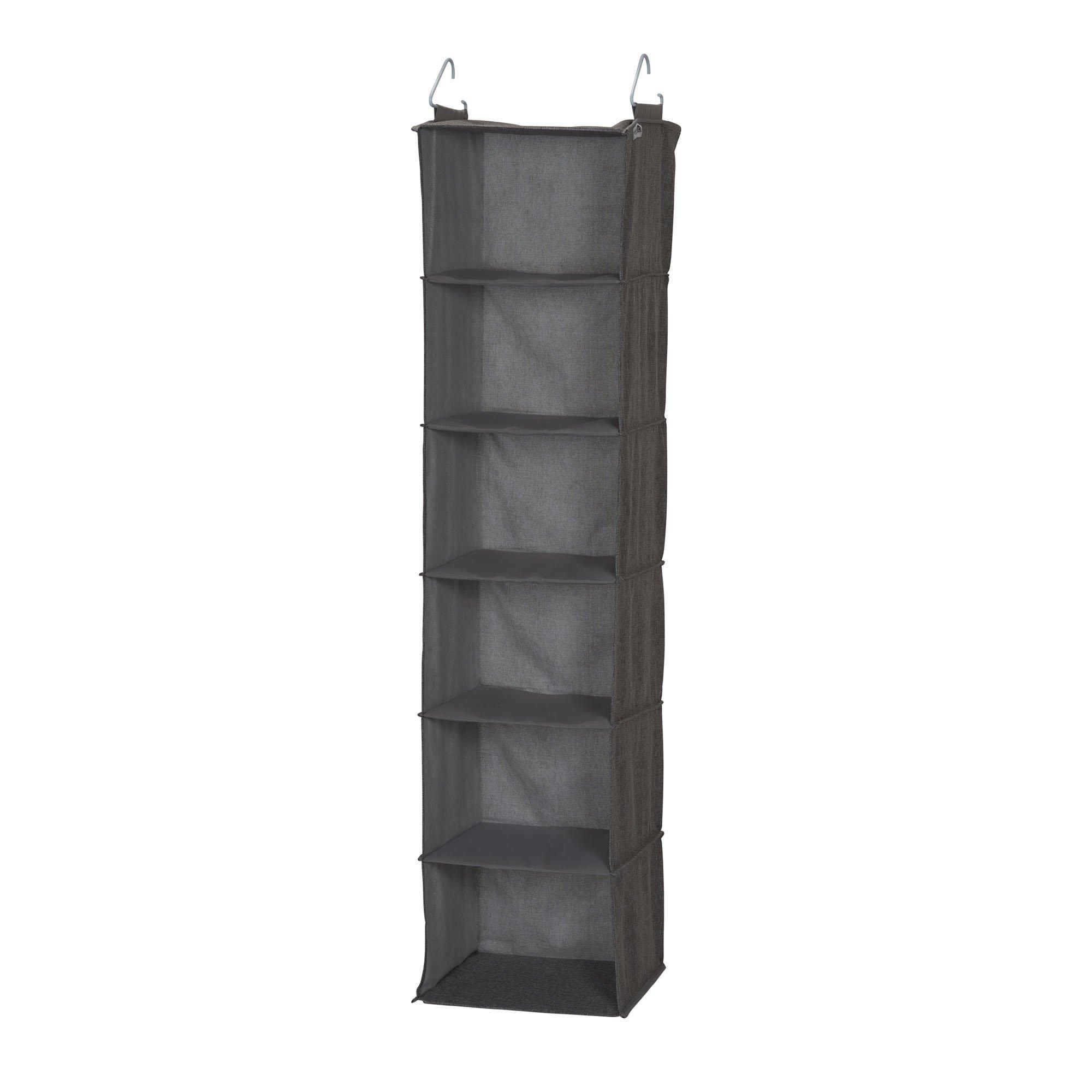 Household Essentials 66412 Linen 6 Shelf Hanging Closet Organizer, Gray