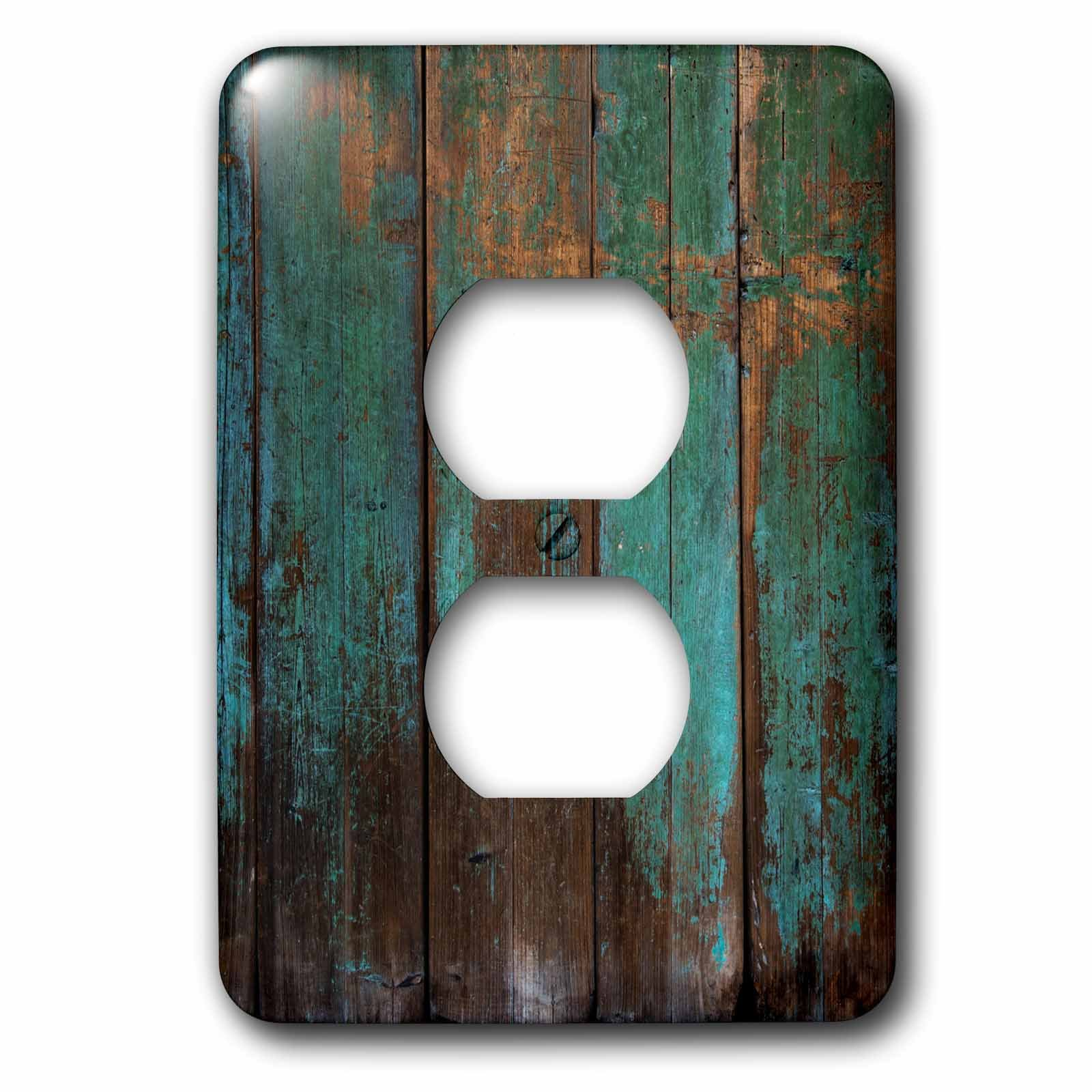 3dRose lsp_239940_6 Teal Distressed Country Wood Effect Plug Outlet Cover