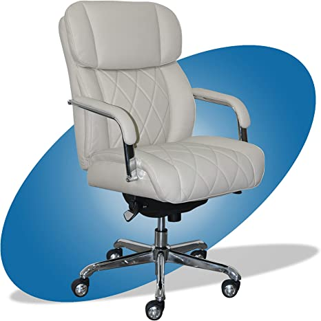 La-Z-Boy Sutherland Quilted Leather Executive Office Chair With Padded Arms