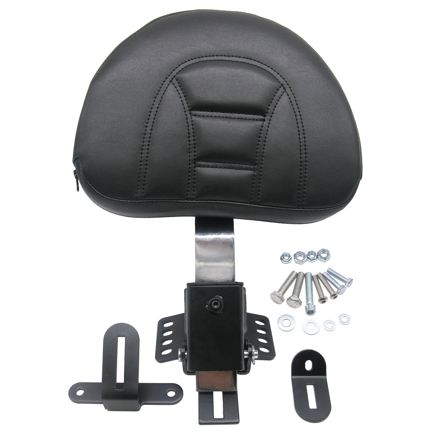 ECLEAR Driver Rider Backrest Kit Adjustable Plug-In Leather Cushion For Harley Touring 1997-2017