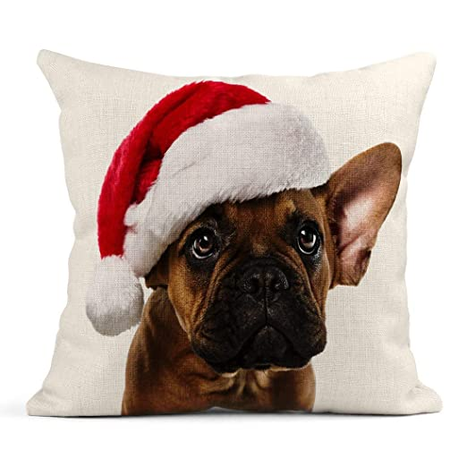 Kinhevao Cojín Marrón Navidad Lindo y pequeño Bulldog ...