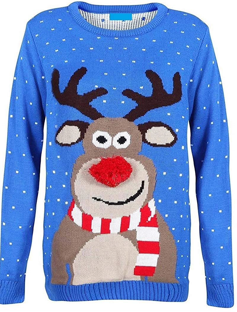 bleu 11-12 Years Prettymake Unisex Enfants Girls garçons Beautiful Rudolph 3D Nose Pom Pom Ugly Christmas Jumper
