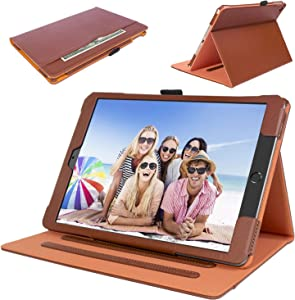 New iPad 10.2 inch 2020/2019 [ 8th / 7th Generation ] Leather Case with Apple Pencil Holder, Corner Protection, Auto Wake/Sleep and Stand Folio Multiple Viewing Angles Cover Case, Brown