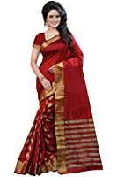 BlueGene Women's Cotton Silk Saree (Red)
