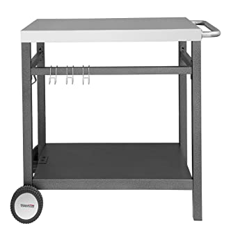 Royal Gourmet Double Shelf Movable Dining Cart Table,Commercial  Multifunctional Stainless Steel Flattop Worktable