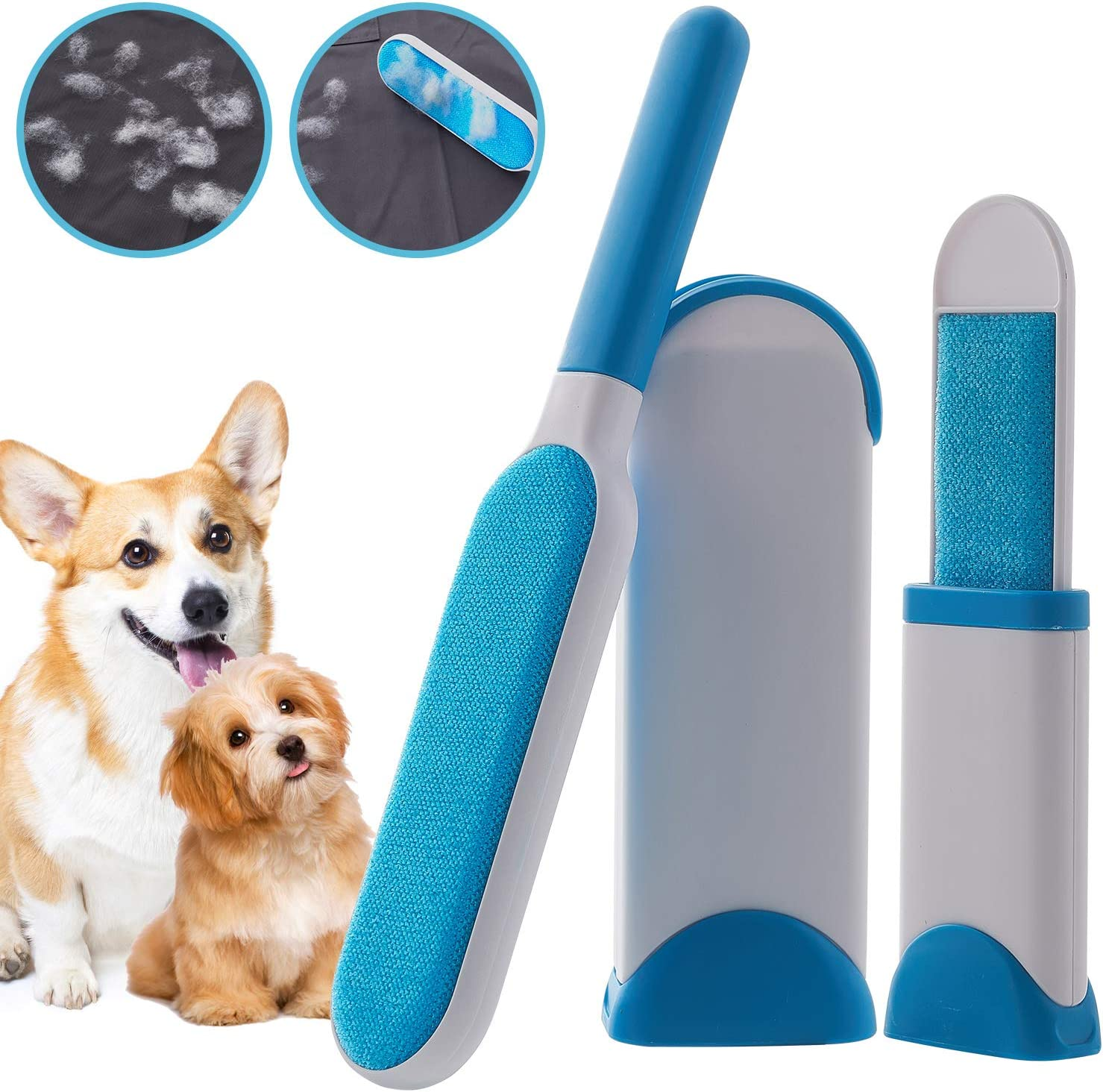 Double-Sided Brush with Self-Cleaning Base Fur /& Lint Removal WELLTED 2020 Updated Pet Hair Remover Brush for Furniture Clothing Car Seat Lint Brush Fur Remover Dog /& Cat Hair Remover